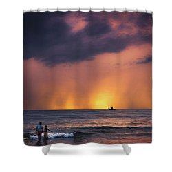 Horizon Shower Curtain by Marji Lang
