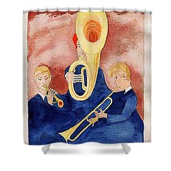 Horn Trio Shower Curtain by Fred Jinkins