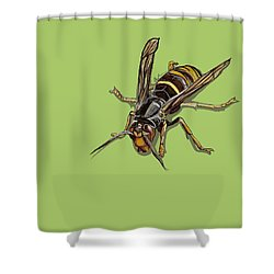 Hornet Shower Curtain by Jude Labuszewski