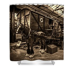 Horse And Cart Loading Train Shower Curtain