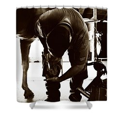 Horse And Farrier Shower Curtain by Angela Rath