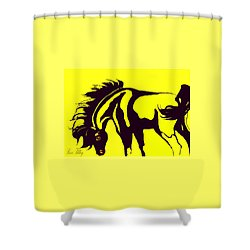 Horse-black And Yellow Shower Curtain