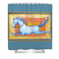 Horse Detail From H Medieval Alphabet Print Shower Curtain