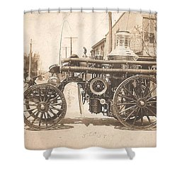 Horse Drawn Fire Engine 1910 Shower Curtain by Virginia Coyle