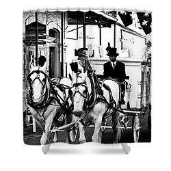 Horse Drawn Funeral Carriage Shower Curtain