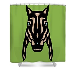 Horse Face Rick - Horse Pop Art - Greenery, Hazelnut, Island Paradise Blue Shower Curtain