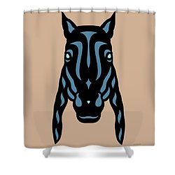 Horse Face Rick - Horse Pop Art - Hazelnut, Niagara Blue, Island Paradise Blue Shower Curtain