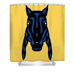 Horse Face Rick - Horse Pop Art - Primrose Yellow, Lapis Blue, Island Paradise Blue Shower Curtain