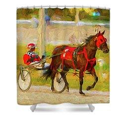 Horse, Harness And Jockey Shower Curtain by Les Palenik