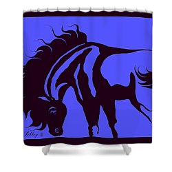 Horse In Blue And Black Shower Curtain