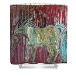 Horse In The Rain Shower Curtain