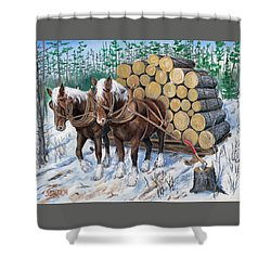 Horse Log Team Shower Curtain