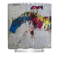 Shower Curtain featuring the painting Horse Of A Different Color by Thomasina Durkay