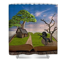 Shower Curtain featuring the mixed media Horse Power by Marvin Blaine