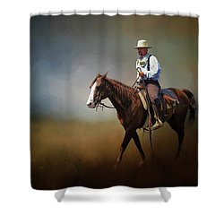 Shower Curtain featuring the photograph Horse Ride At The End Of Day by David and Carol Kelly