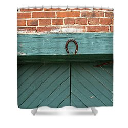 Horse Shoe On Old Door Frame Shower Curtain