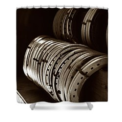 Horse Shoes In Sepia Shower Curtain by Angela Rath