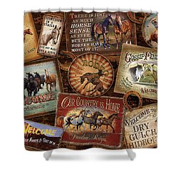 Horse Sign Collage Shower Curtain