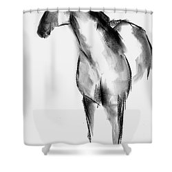 Shower Curtain featuring the drawing Horse Sketch by Frances Marino