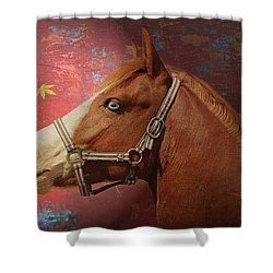 Horse Texture Portrait Shower Curtain