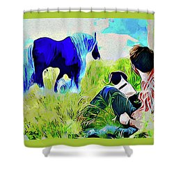 Shower Curtain featuring the painting Horse Whisperer by Ted Azriel