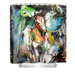 Horse,horseman And The Target Shower Curtain by Khalid Saeed