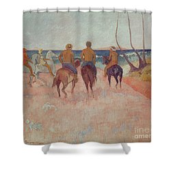 Horseman On The Beach Shower Curtain by Paul Gauguin