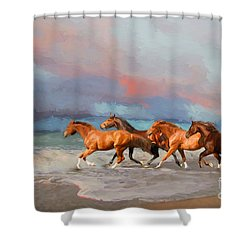 Horses At The Beach Shower Curtain