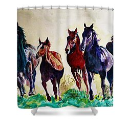 Horses In Wild Shower Curtain
