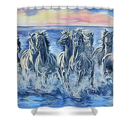 Horses Of The Sea Shower Curtain by Jana Goode