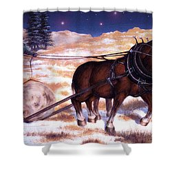 Horses Pulling Log Shower Curtain by Curtiss Shaffer