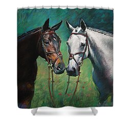 Horses Shower Curtain by Ylli Haruni
