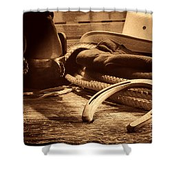 Horseshoe And Cowboy Gear Shower Curtain