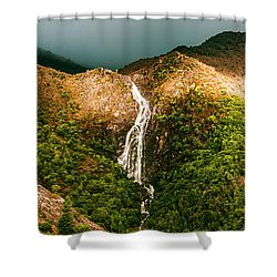Horsetail Falls In Queenstown Tasmania Shower Curtain
