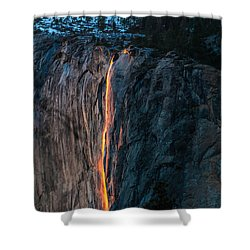 Horsetail Water Fall Glow Shower Curtain