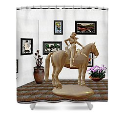 Virtual Exhibition -statue Of Horsewoman 12 Shower Curtain by Pemaro