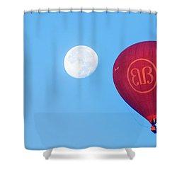 Shower Curtain featuring the photograph Hot Air Balloon And Moon by Pradeep Raja Prints