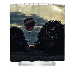 Hot Air Balloon Between The Trees At Dusk Shower Curtain