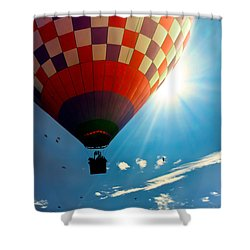 Hot Air Balloon Eclipsing The Sun Shower Curtain by Bob Orsillo
