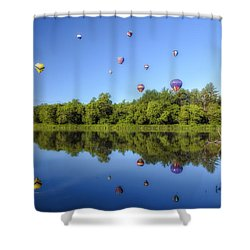 Quechee Balloon Fest Reflections Shower Curtain