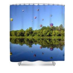 Quechee Balloon Fest Reflections Shower Curtain