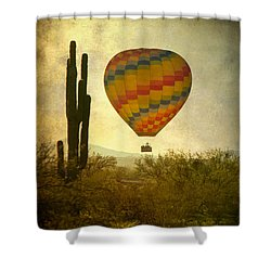 Hot Air Balloon Flight Over The Southwest Desert Shower Curtain by James BO  Insogna