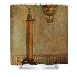 Shower Curtain featuring the digital art Hot Air Balloon Over St Petersburg And The Hermitage by Jeff Burgess
