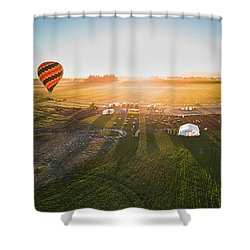 Shower Curtain featuring the photograph Hot Air Balloon Taking Off At Sunrise by William Lee