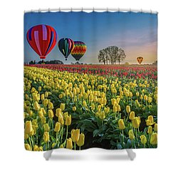 Shower Curtain featuring the photograph Hot Air Balloons Over Tulip Fields by William Lee