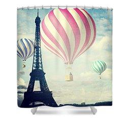 Hot Air Balloons In Paris Shower Curtain