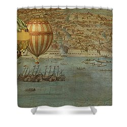 Shower Curtain featuring the digital art Hot Air Baloons Over Venus by Jeff Burgess