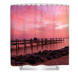 Hot Bay Sunset Shower Curtain by Trish Tritz