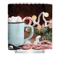 Shower Curtain featuring the photograph Hot Cocoa With Marshmallows And Candy Canes by Stephanie Frey