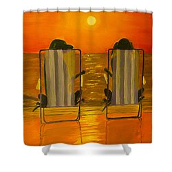 Hot Day At The Beach Shower Curtain by Roger Wedegis
